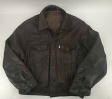Levi's Trucker Vintage Distressed Bufalo Leather Jacket Brown XL Levis Western