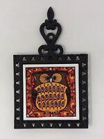 Vintage 1960s HOLT HOWARD Owl Cast Iron & Ceramic Tile Trivet Orange Red JAPAN