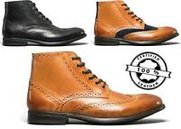 Route 21 KLINE Mens Smooth Faux Leather Lace Up Casual Dress Ankle Boots Honey
