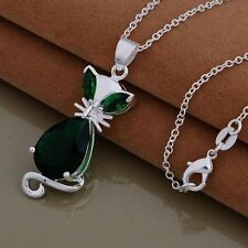 925 STERLING SILVER & GREEN MOLDAVITE CAT/FOX ANIMAL GEMSTONE PENDANT NECKLACE