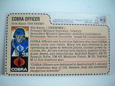 K186876 COBRA OFFICER FILECARD UNCUT RED BACK GI JOE 1983 MAIL AWAY VINTAGE