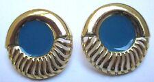 boucles d'oreilles percées bijou vintage couleur or coquille émail bleu  68
