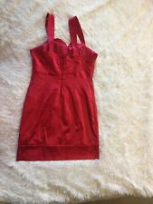 Womens Dress Sz 12 Red Satin~Sexy Cocktail Pencil Skirt BodyCon Party~Slimming!