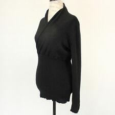 Evelyn 2-Ply 100% Cashmere Knit Soft Warm V-Neck Black Sweater Medium