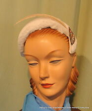 Adorable Vintage 40's 50's Cream Faux Fur Gripper Headband Hat One Size