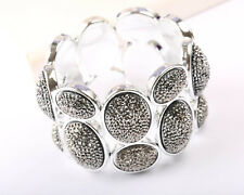 Silver Tone Bracelet Grey Crystal and