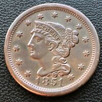1851 Large Cent Braided Hair One Cent 1c High Grade XF - AU #28503