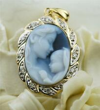 14K YELLOW GOLD MAMA AND BABY AGATE CAMEO SURROUNDED IN DIAMONDS