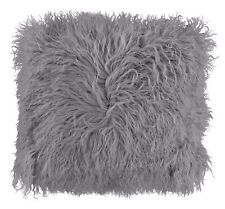 Mongolian Shaggy Faux Fur Suede Silver With Hint of Lilac Cushion Cover 17""