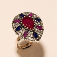 Ruby Sapphire Gemstone Turkish Ottoman Handmade Ring 925 Sterling Silver Jewelry