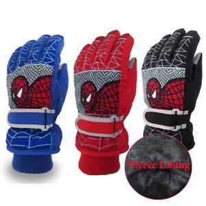 Kids Boys Winter Warm Gloves Spiderman Waterproof Ski Snowboard Gloves Mittens