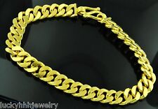 9999 24K Solid Yellow Gold flat curb link handmade bracelet 8 Inches 75.00 grams