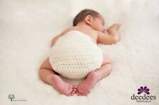 ~ NEW Baby Crochet NAPPY COVER - Photography Prop *Cream* 0-3m *QLD MADE* ~