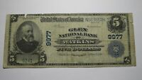 $5 1902 Watkins New York NY National Currency Bank Note Bill! Ch. #9977 Glen!