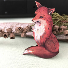 Wooden fox brooch Fox lapel pin Foxy fashion accessory Wood animal Jewellery