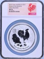 2017 P Australia Silver Lunar Year of the Rooster NGC MS 70 10 oz $10 Coin ER