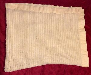 Vintage Yellow Baby Blanket Thermal Waffle Weave Nylon Satin Edge Trim 44x34