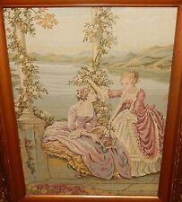 HIGH SOCIETY WOMEN ORIGINAL EMBROIDED TAPESTRY WALL PAINTING