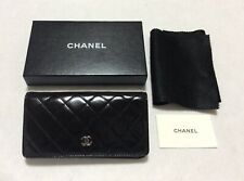 CHANEL Authentic CC Logos Quilted Long  Wallet Purse Patent  Leather