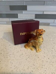 Impulse Golden Retriever Sitting Dog Hinged Box With Embedded Crystals