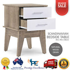 Bedside Table with 2 White Drawers Scandinavian Style Oak Wood Nightstand Tables