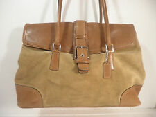 COACH Large Tan Suede & Leather Shoulder Bag / Purse / Satchel