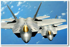 Pair of F-22 Raptors AirForce Fighter Jet - Military Aviation POSTER
