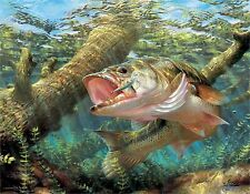 LARGE MOUTH BASS #7      MOUSE PAD  IMAGE FABRIC TOP RUBBER BACKED