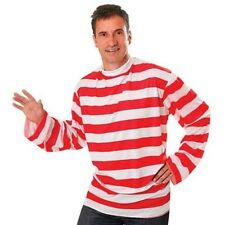 Red & White Striped T-Shirt Fancy Dress Book Week Wally Mens Costume P6958