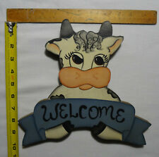 "Handmade Wood Class ""Welcome"" Cow Sign"