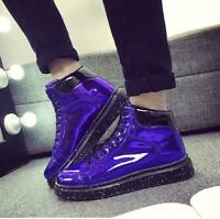 Mens Patent Leather Sneakers Lace Up High Top Chic Shiny Shoes Casual Creepers