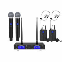 4 Channel Pro UHF Audio Wireless Microphone System 2 Handheld 2 Headset Lavalie