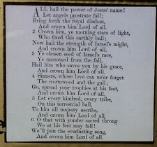 """All Hail the Power of Jesus' Name!"", Hymn Lyrics, Magic Lantern Glass Slide"