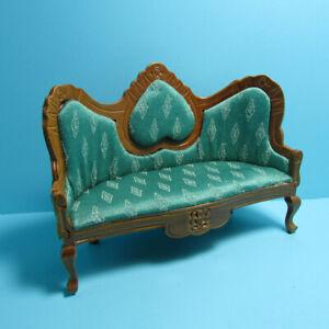 Dollhouse Miniature Wood Victorian Couch Sofa Lt Green Fabric and Walnut T6493