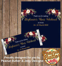 Personalised Navy Floral Hens Bridal Shower Chocolate Bar Wrapper x10  ($1 ea)