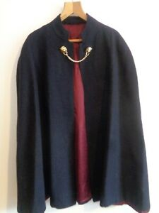 Vtg 60s 70s black wool gents police style goth dress cape