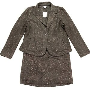 NEW J. Jill Skirt Suit Wool Boucle Sequin Brown Petite • Jacket Large | Skirt 10