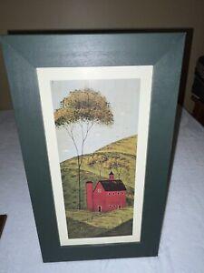 Warren Kimble Green Wood Frame Red Barn Print Vintage Folk Art Americana Country