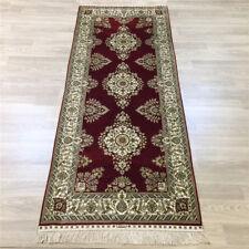 YILONG 2.5'x6' Red Silk Hallway Rug Runner Hand Made Corridor Carpet Strip 206A