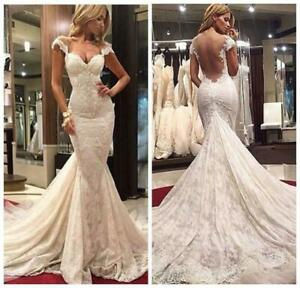 Mermaid White/Ivory Lace Appliques Wedding Dress Long Train Sheer Bridal Gown