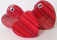 Valentine Nesting Boxes W/Tops - Set Of 3 Red Heart Shaped - Cloth Covered - New