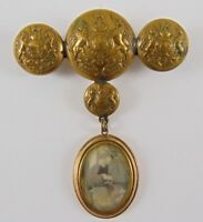 WW1 General Service Button Sweetheart Brooch With Rolled Gold Picture Locket