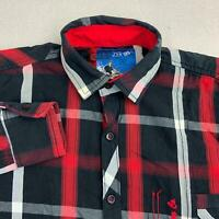 Zero Degrees Celsius Button Up Shirt Mens M Red Black Gray Long Sleeve Plaid