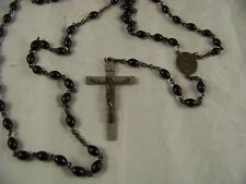VINTAGE STERLING SILVER ROSARY BEADS CRUCIFIX MEDALLION