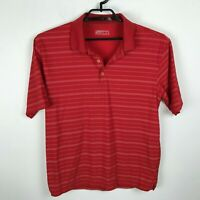 Nike Golf Polo Shirt Size M Red White Striped Short Sleeve Mens Polyester DriFit