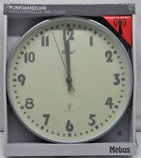 Funk Wanduhr Bahnhof Uhr  MEBUS Quarz Uhr analog Ø 28cm weiß Gehäuse grau 41653