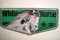 OA WHITE HORSE LODGE 201 SHAWNEE TRAILS COUNCIL SCOUT PATCH GREEN SERVICE FLAP