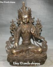 Antique Tibet Old Silver Buddhism Seat White Tara Goddess Buddha Lotus Statue