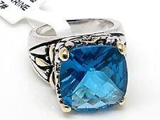Sterling Silver Filigree Blue Topaz Designer Ring Size 7
