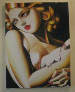 Tamara De Lempicka Painting 80cm X 66cm Art Deco Oil Canvas - MOUNTED